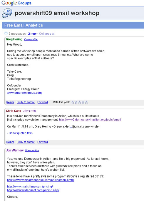 Google Group for Power Shift email workshop